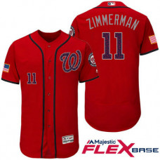 Washington Nationals #11 Ryan Zimmerman Red Stars & Stripes 2016 Independence Day Flex Base Jersey