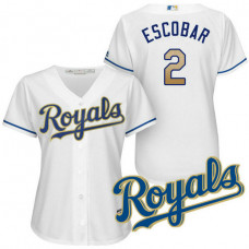 Women - Kansas City Royals Alcides Escobar #2 2017 Home White Cool Base Jersey