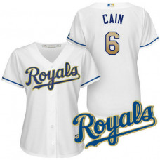 Women - Kansas City Royals Lorenzo Cain #6 2017 Home White Cool Base Jersey