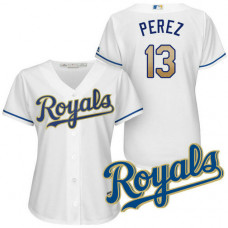 Women - Kansas City Royals Salvador Perez #13 2017 Home White Cool Base Jersey