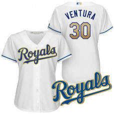 Women - Kansas City Royals Yordano Ventura #30 2017 Home White Cool Base Jersey