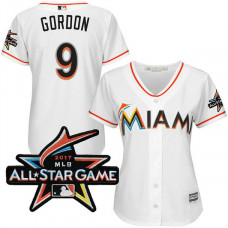 Women - Miami Marlins Dee Gordon #9 2017 All-Star Game Patch White Cool Base Jersey