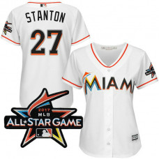 Women - Miami Marlins Giancarlo Stanton #27 2017 All-Star Game Patch White Cool Base Jersey