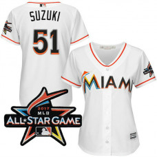 Women - Miami Marlins Ichiro Suzuki #51 2017 All-Star Game Patch White Cool Base Jersey