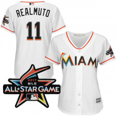 Women - Miami Marlins J.T. Realmuto #11 2017 All-Star Game Patch White Cool Base Jersey