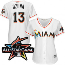 Women - Miami Marlins Marchell Ozuna #13 2017 All-Star Game Patch White Cool Base Jersey