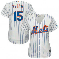 Women - New York Mets Tim Tebow #15 Home White Cool Base Jersey