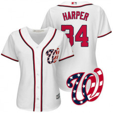 Women - Washington Nationals Bryce Harper #34 2017 Home White Cool Base Jersey