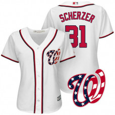 Women - Washington Nationals Max Scherzer #31 2017 Home White Cool Base Jersey
