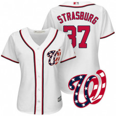 Women - Washington Nationals Stephen Strasburg #37 2017 Home White Cool Base Jersey
