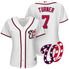 Women - Washington Nationals Trea Turner #7 2017 Home White Cool Base Jersey