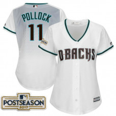 Women - A.J. Pollock #11 Arizona Diamondbacks 2017 Postseason White Cool Base Jersey