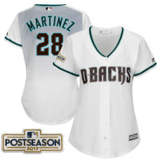 Women - J.D. Martinez #28 Arizona Diamondbacks 2017 Postseason White Cool Base Jersey