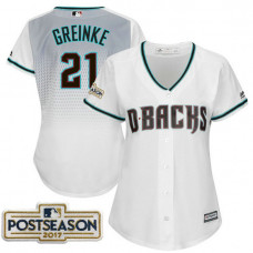 Women - Zack Greinke #21 Arizona Diamondbacks 2017 Postseason White Cool Base Jersey