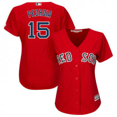 Women - Boston Red Sox #15 Dustin Pedroia Alternate Red Cool Base Jersey