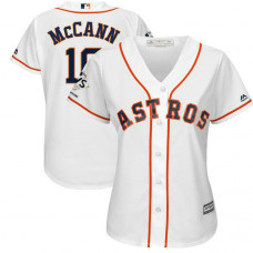 Women - Houston Astros Brian McCann #16 White 2017 World Series Champions Patch Cool Base Jersey