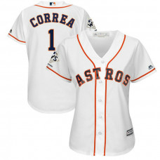 Women - Houston Astros Carlos Correa #1 White 2017 World Series Champions Patch Cool Base Jersey
