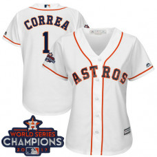 Women - Houston Astros Carlos Correa #1 White 2017 World Series Champions Team Logo Patch Cool Base Jersey