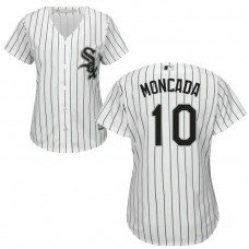 Women - Yoan Moncada #10 Chicago White Sox Home White Cool Base Jersey