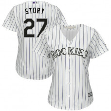 Women - Colorado Rockies #27 Trevor Story Home White Cool Base Jersey