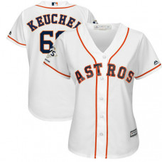 Women - Houston Astros Dallas Keuchel #60 White 2017 World Series Champions Patch Cool Base Jersey