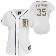 Women - Detroit Tigers Justin Verlander #35 White Digital Camo USMC Player Jersey