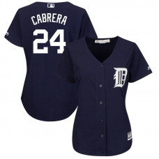Women - Detroit Tigers #24 Miguel Cabrera Fashion Navy Cool Base Jersey