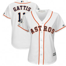 Women - Houston Astros Evan Gattis #11 White 2017 World Series Champions Patch Cool Base Jersey