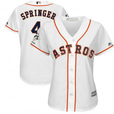 Women - Houston Astros George Springer #4 White 2017 World Series Champions Patch Cool Base Jersey