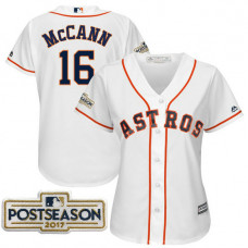 Women - Brian McCann #16 Houston Astros 2017 Postseason White Cool Base Jersey