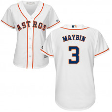 Women - Houston Astros #3 Cameron Maybin Home White Cool Base Jersey