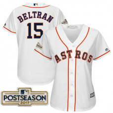 Women - Carlos Beltran #15 Houston Astros 2017 Postseason White Cool Base Jersey