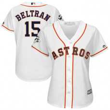 Women - Carlos Beltran #15 Houston Astros 2017 World Series Bound White Cool Base Jersey