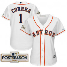 Women - Carlos Correa #1 Houston Astros 2017 Postseason White Cool Base Jersey