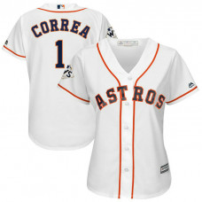 Women - Carlos Correa #1 Houston Astros 2017 World Series Bound White Cool Base Jersey