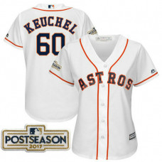 Women - Dallas Keuchel #60 Houston Astros 2017 Postseason White Cool Base Jersey