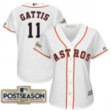 Women - Evan Gattis #11 Houston Astros 2017 Postseason White Cool Base Jersey