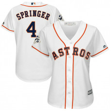 Women - George Springer #4 Houston Astros 2017 World Series Bound White Cool Base Jersey