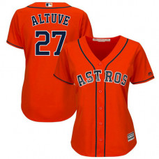 Women - Houston Astros #27 Jose Altuve Alternate Orange Cool Base Jersey