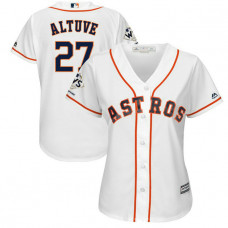 Women - Houston Astros Jose Altuve #27 White 2017 World Series Champions Patch Cool Base Jersey