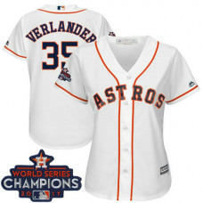 Women - Houston Astros Justin Verlander #35 White 2017 World Series Champions Team Logo Patch Cool Base Jersey