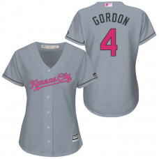 Women - Kansas City Royals #4 Alex Gordon Grey Road 2016 Mother's Day Cool Base Jersey