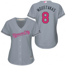 Women - Kansas City Royals #8 Mike Moustakas Grey Road 2016 Mother's Day Cool Base Jersey