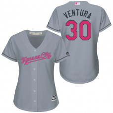 Women - Kansas City Royals #30 Yordano Ventura Grey Road 2016 Mother's Day Cool Base Jersey