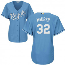 Women - Kansas City Royals #32 Brandon Maurer Alternate Light Blue Cool Base Jersey