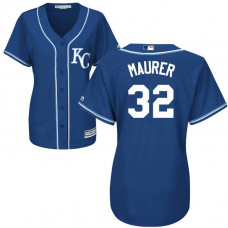 Women - Kansas City Royals #32 Brandon Maurer Alternate Royal Cool Base Jersey