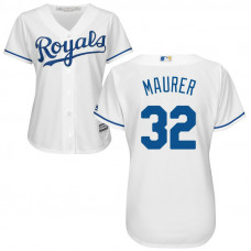 Women - Kansas City Royals #32 Brandon Maurer Home White Cool Base Jersey