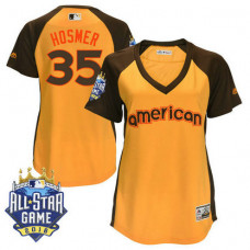 Women - Kansas City Royals Eric Hosmer #35 Yellow 2016 All-Star Game MVP Batting Practice Cool Base Jersey