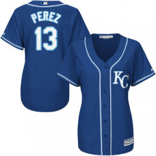 Women - Kansas City Royals Salvador Perez #13 Royal Cool Base Jersey