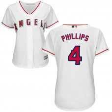 Women - Los Angeles Angels #4 Brandon Phillips Home White Cool Base Jersey